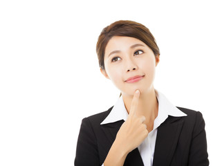 young smiling businesswoman with thinking gesture