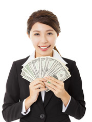 happy young business woman showing money