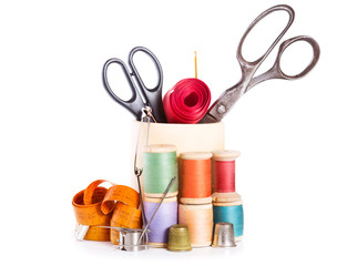 scissors, various threads  and sewing tools