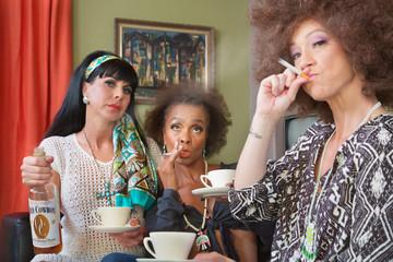 Three Friends Smoking and Drinking