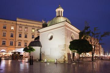 Church of Saint Wojciech in Krakow at Night