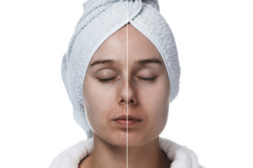 woman with closed eyes before and after makeup horizontal