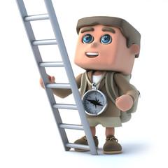 3d Hiker kid has a ladder
