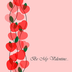 Valentine's greeting card with translucent hearts