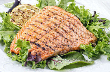 Grilled Salmon with Green Salad