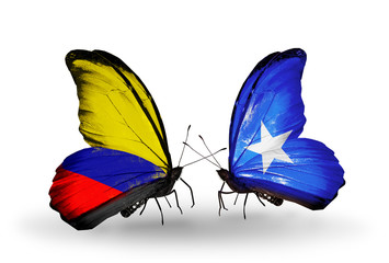 Two butterflies with flags Columbia and Somalia