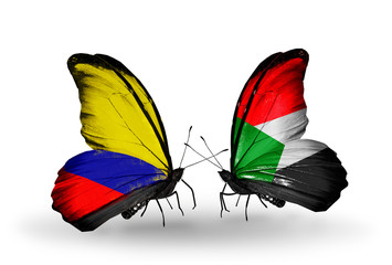 Two butterflies with flags Columbia and  Sudan