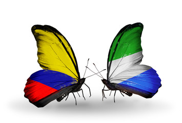 Two butterflies with flags Columbia and Sierra Leone