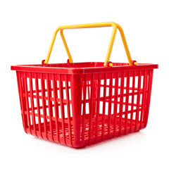 empty red plastic shopping basket on a white background