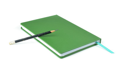 Green notebook isolated on white background.