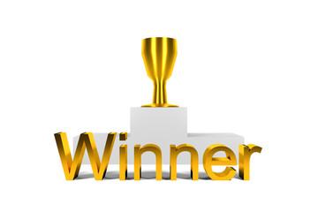 golden trophy standing on white winner podium