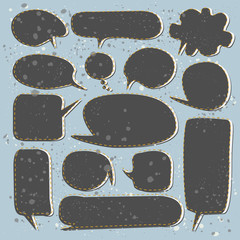 Set of black speech bubbles.