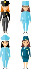 Occupation avatars in colorful style. Set of people icons.