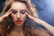 canvas print picture - fashion model posing in studio