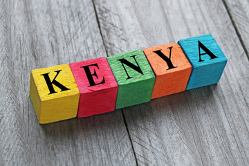 word kenya on colorful wooden cubes