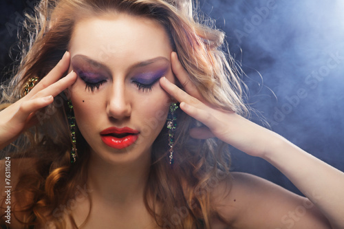 canvas print picture fashion model posing in studio