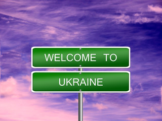 Ukraine Welcome Travel Sign