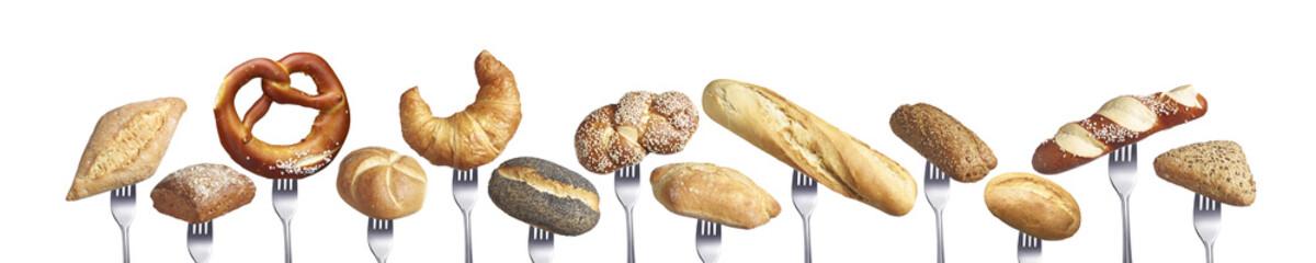 Reihe verschiedener Brote