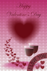 Happy Valentine's Day with Two Glasses of Wine