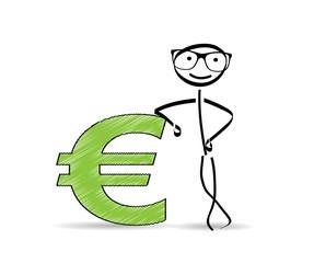 Euro Symbol / Strichmännchen / aufgestützt
