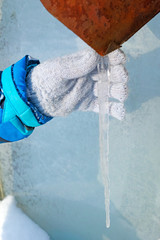Child with icicle