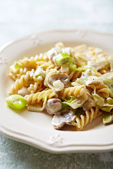 Fusilli pasta  with mushrooms, leek and mascarpone sauce