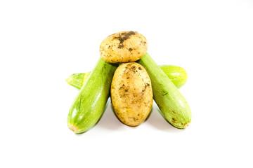 Frische Grüne Zucchini mit Kartoffeln
