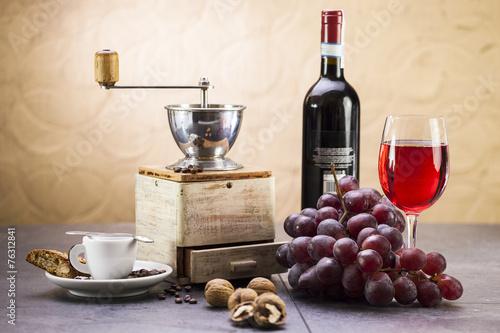 Coffee grinder, coffee and sweet Italian cookie cantuccini, grap