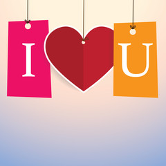 'I Love You' Poster / Background With heart shape paper tag