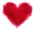 Obrazy na płótnie, fototapety, zdjęcia, fotoobrazy drukowane : Red watercolor heart.
