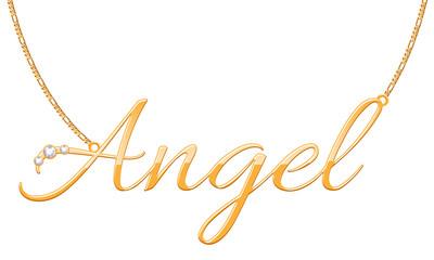 Golden word Angel pendant on chain.