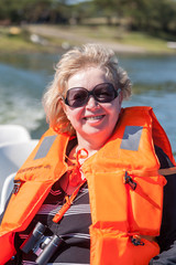 Portrait of a woman in  life jacket