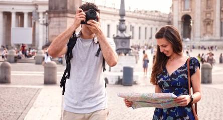 Cute Tourist Couple Taking Pictures Europe Italy Rome Smiling