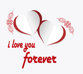 love  illustration, hearts and love text over color background