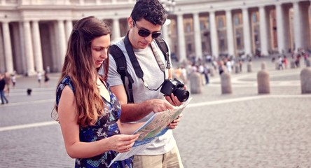 Young Tourists Exploring Rome Map Vacation Concept Taking