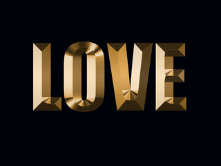gold inscription love