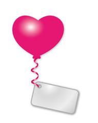 rosa Herz mit Botschaft
