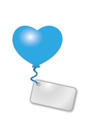 blaues Herz mit Botschaft