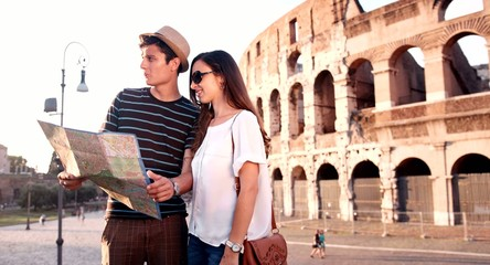 Cute Romantic Couple Holding Map Traveling Rome Italy Sunset