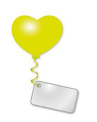 grüner Herzballon mit Botschaft