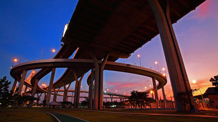 Bhumibol Bridge landscape at dusk in Bangkok