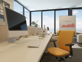 Desk in a modern office interior