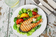 steak grilled salmon with vegetables on a plate - 76317090