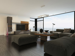 Large spacious living room with view windows