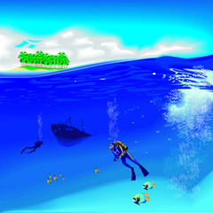 underwater with divers and wreck