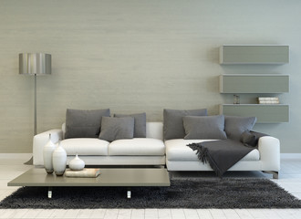 Grey and White Living Room with Modern Furniture