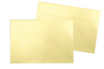 Gold envelopes C5 format isolated on white background