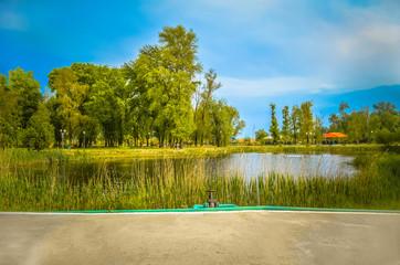 Lake in the park Energodar. Zaporizhia region. Ukraine