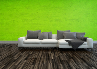 Sofa against a bright green living room wall
