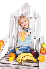Girl offers orange juice